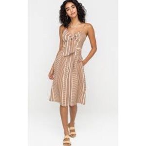 Anthro striped cut out midi dress sm